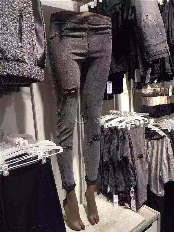 破洞牛仔打底裤