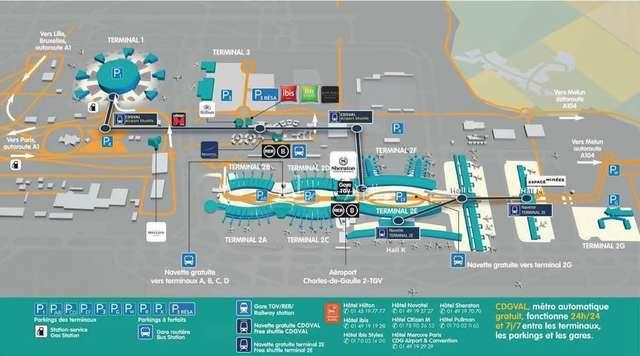 alt:戴高乐机场航站楼分布总图