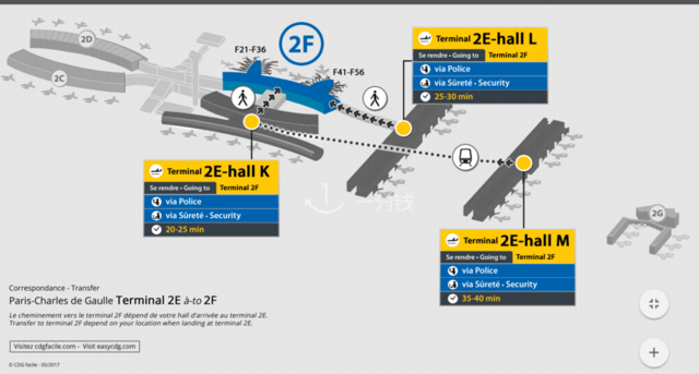 alt:戴高乐机场T2 E,F航站楼换乘通道