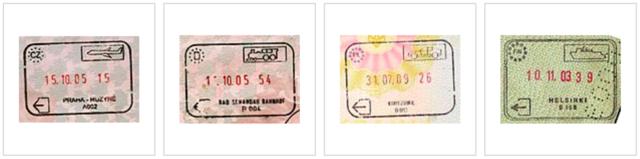 alt:分别乘坐飞机/火车/汽车/轮渡离开申根区的出境章