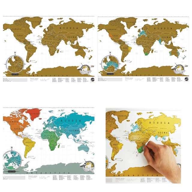 圣诞创意趣味礼物刮纸世界地图